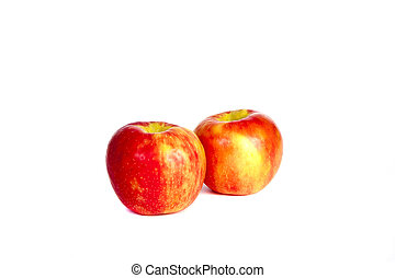 Two Red Apples on White
