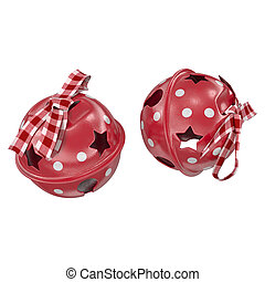 two red bells on a white background 3d render