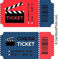 Two red-blue entry pass tickets stub for cinema