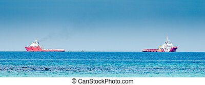 Two red cargo ship on the sea