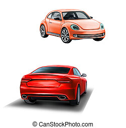 Two red cars. Frond and rear view. car for woman. Sedan. - ...