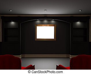 Two red chairs with empty frame in living room