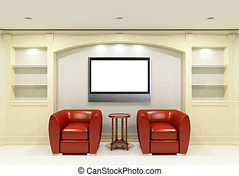 Two red chairs with table with LCD tv