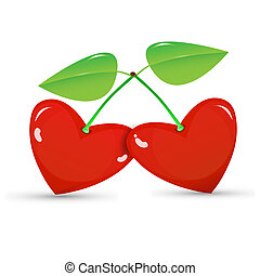 Two red cherries in a heart shape on white background