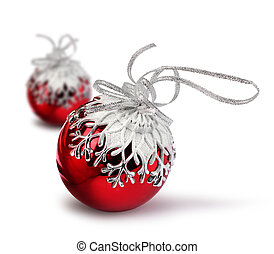 Two red Christmas balls isolated