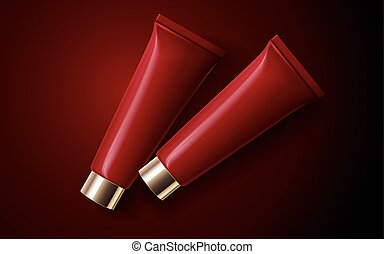 red cosmetic tubes
