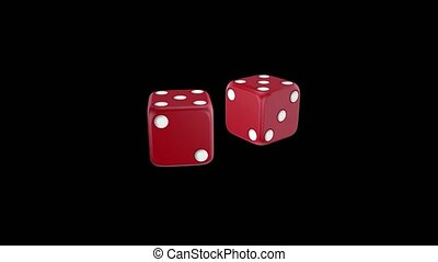 Two red dice. Animation - Two dice of red color spinning on...