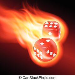 Two red dice in fire.