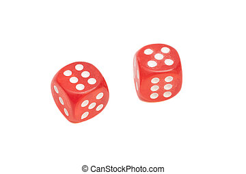 Two red dice isolated on white