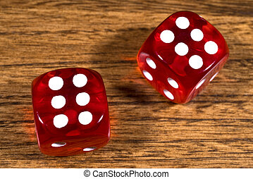 Two Red Dice on a Table