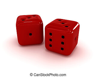 Two red dice on a white background
