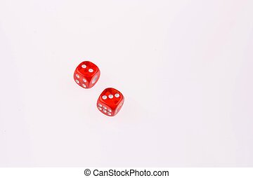 red dice on a white background
