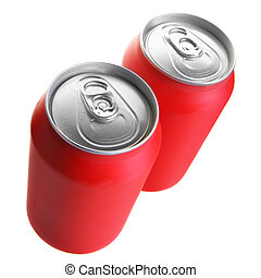 Two red drink cans