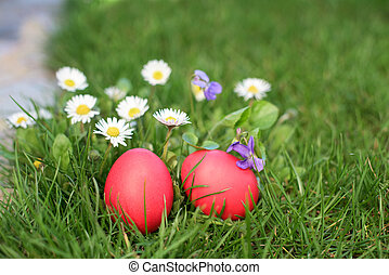 Two red Easter eggs and flowers