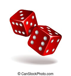 Two red falling dice isolated on white.