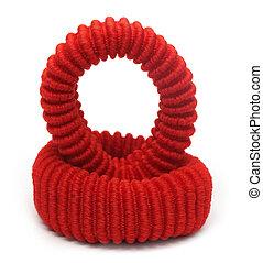 Two red hair elastics