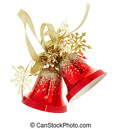 handbells - Two red handbells on a white background