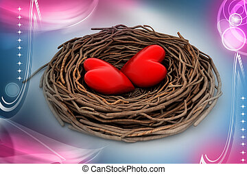 Two red heart in a bird nest