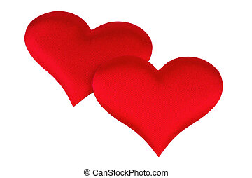two red heart isolated on white background