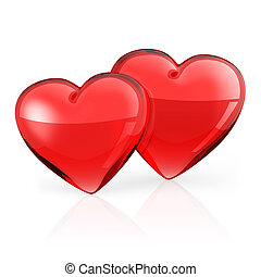 Two Red heart on white background.