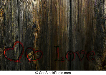 Two red hearts and the inscription