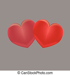 Two red hearts on a gray background
