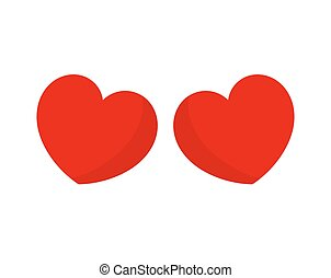 Two red hearts on white background