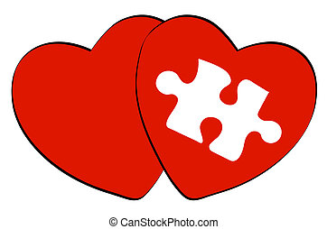 two red hearts one with white puzzle shape