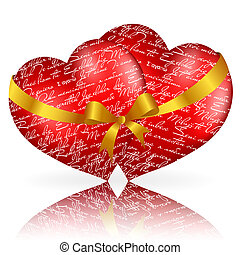 Two red hearts with golden bow and ribbon on white background