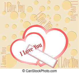 Two red hearts with I love you text