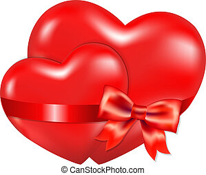 Two Red Hearts With Red Bow