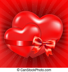 Two Red Hearts With Red Bow And Sunburst