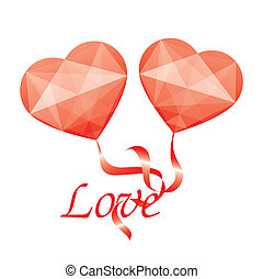 two red hearts with ribbon and love