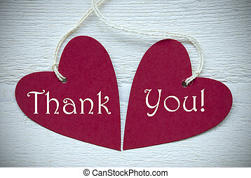 Two Red Hearts With Thank You - Two Red Hearts Label Or Tag...