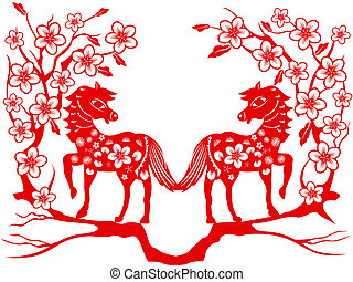 two red horse for Chinese new year