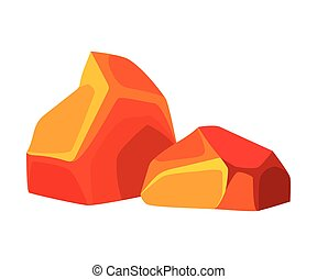 Two red-hot orange coal. Vector illustration on white background.