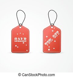 Two red label sale Vector illustration EPS10