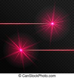 Two red laser beams - Colorful red laser rays on a...