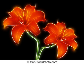 Two red lilies