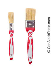 two red Paint brushes isolated on a white background