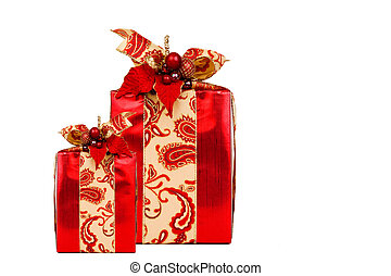 Two Red Presents with clipping path