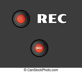 rec button - two red rec buttons on dark background, vector...