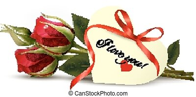 Two red roses with an I Love You note. Vector.