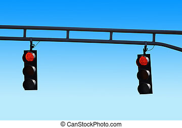 Two Red Stoplights - two red hanging stoplights