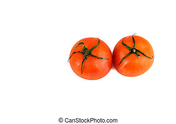 Two Red Tomatoes on White Background
