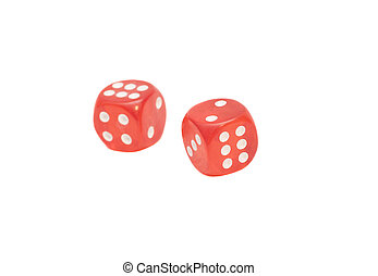 two red transparent dice on white