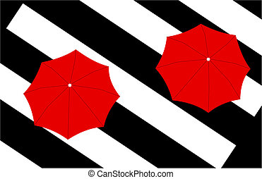 two red umbrellas on stripes background