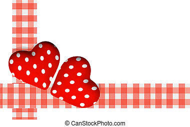 two red valentine hearts on white background - 3d rendering