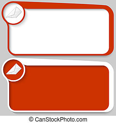 two red vector text box and envelope