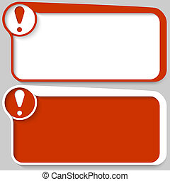 two red vector text box and exclamation mark